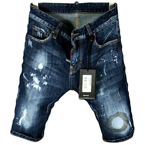 BOOPDO DESIGN DSQTWO WASHED DENIM JEAN SHORT PANTS IN BLUE