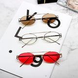 BOOPDO DESIGN OVAL STYLE SMALL FRAME TRANSPARENT SUNGLASSES - boopdo