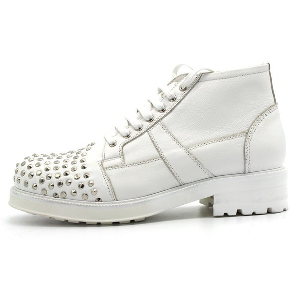 JINIWU VANGUARD HANDMADE COWHIDE LEATHER SHOES IN WHITE WITH RIVET - boopdo