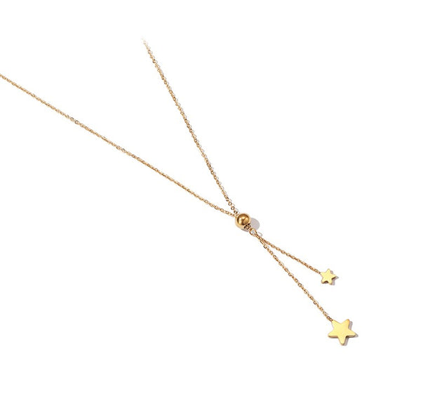 ZEGL GOLD PLATED STAR DROP PENDANT NECKLACE - boopdo
