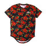 MALILOZ BOOPDO DESIGN ARC ROSE FLORAL T SHIRT IN BLACK