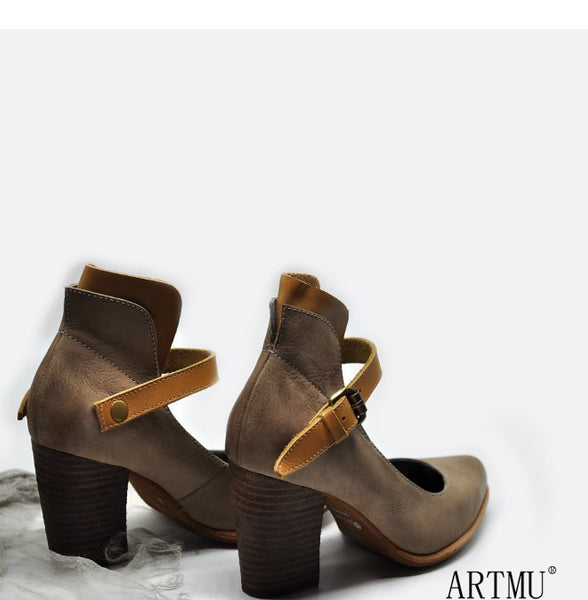 ARTMU BLOCK HEELED SHOES WITH ANKLE STRAP