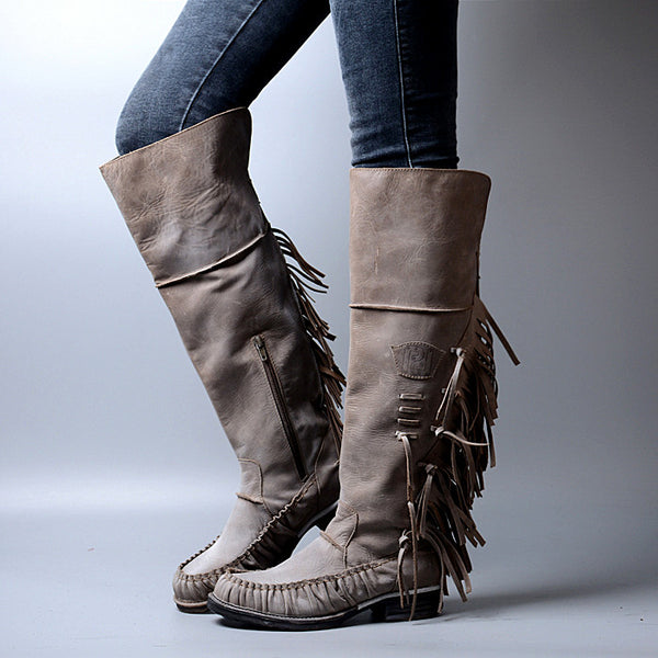 PROVAPERFETTO ANKLE BOOTS WITH TASSEL DESIGN 1100641 GREY TAN - boopdo