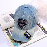 CHUNGLIM ARMY APPLIQUE EMBROIDERY OLD VINTAGE CURVED CAPS IN DENIM COLOR - boopdo