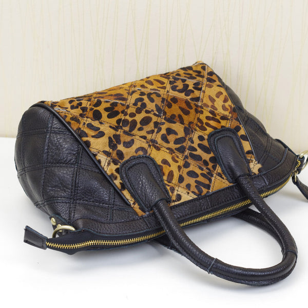 CARLIO LIFU LEATHER HANDBAG IN LEOPARD