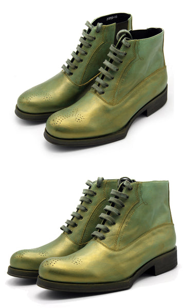 JINIWU VANGUARD HAND CARVED BRONZE GREEN BOOTS - boopdo