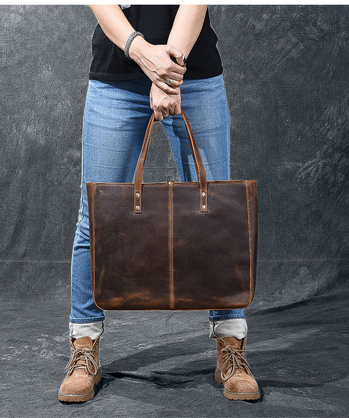 TWENTY FOUR STREET EUROPEAN STYLE HANDMADE LARGE CAPACITY LEATHER TOTE BAG IN BROWN