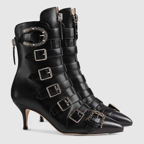 Urban Wear Social Catwalk Design Buckled Leather Pointed Boots