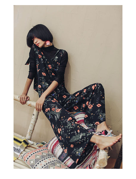 SINCE THEN TIE SHOULDER CAMI JUMPSUIT IN FLORAL