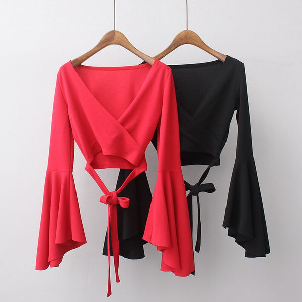 The Match Tie Front Crop Top With Ruffle Sleeves