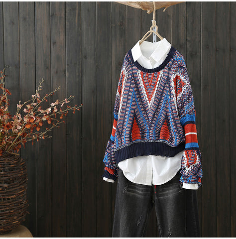 AUTUMN VINTAGE INSPIRED CHUNKY MULTI KNIT JUMPER