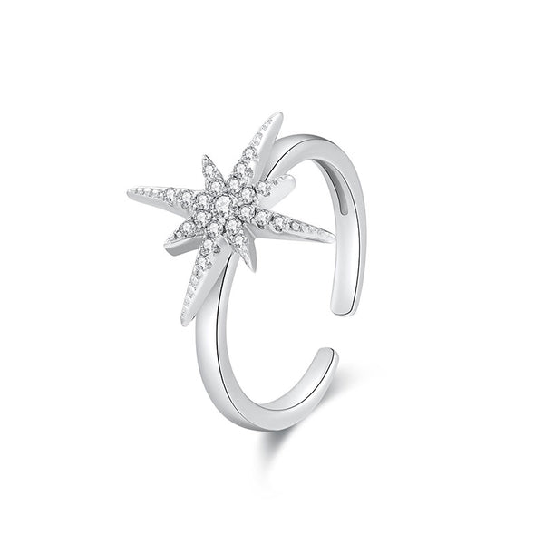 LITTLE JOYS 925 STERLING SILVER CRYSTAL STAR  OPEN ENDED RING
