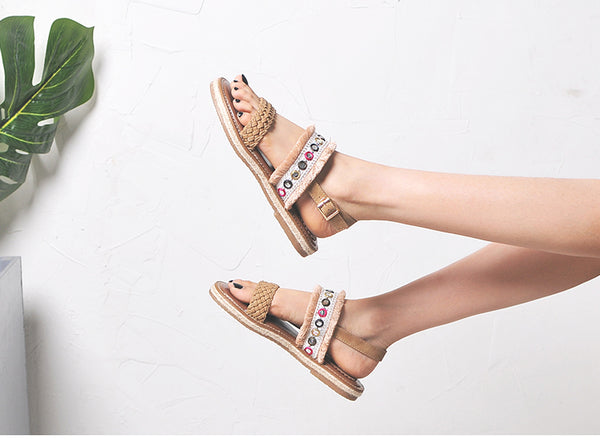 BOOPDO EMBELLISHED FLAT SANDALS WITH TASSEL TRIMS