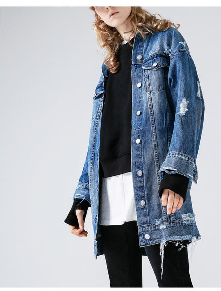 TOYOUTH LONGLINE DISTRESSED DENIM JACKET - boopdo