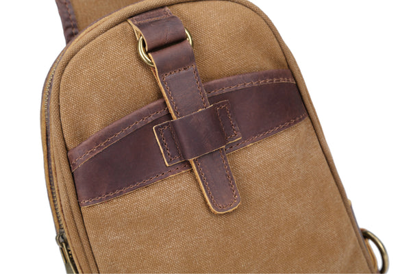 VINTAGE CANVAS TOP LAYER LEATHER MULTI FUNCTION CHEST BAG