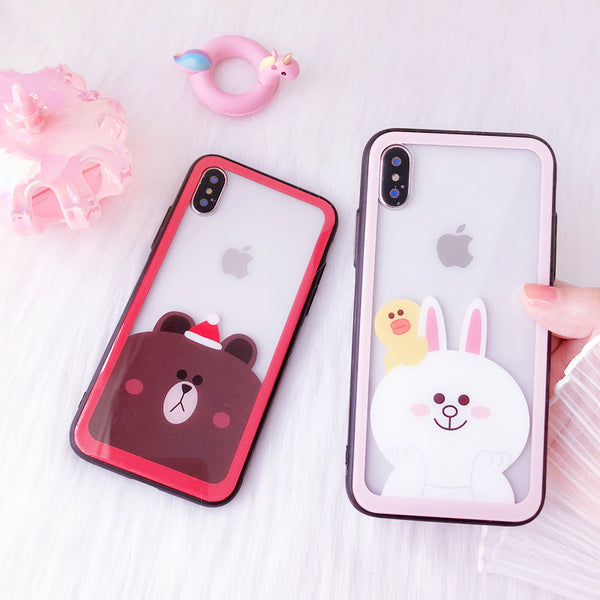 JOYI BEAR RABBIT CARTOON PRINT APPLE IPHONE CASES - boopdo