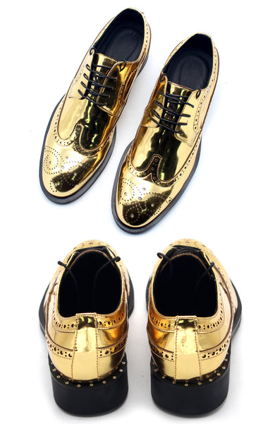 JINIWU VANGUARD NIJILIA BROCK STYLE LEATHER SHOES IN GOLD COLOR - boopdo