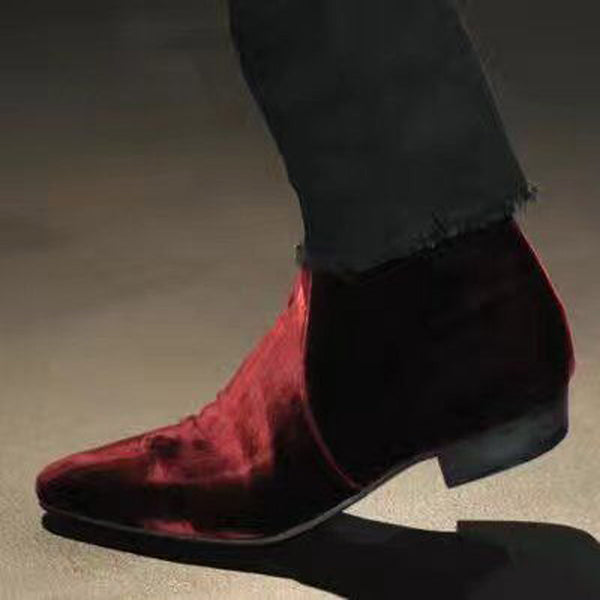 NADEMILI VELVET TOE POINTED CATWALK CHELSEA BOOTS IN WINE RED COLORWAY
