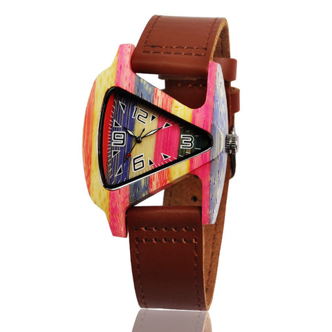 BOBO TRIANGLE HANDMADE BAMBOO WOODEN WATCH WITH LEATHER STRAP