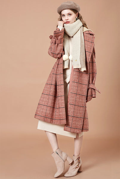 ARTKA CONTRAST CHECK PRINT LONG LINE COAT IN MELON - boopdo