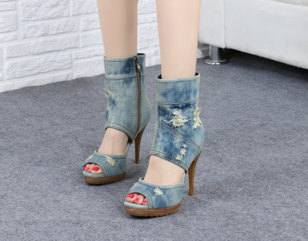 boopdo insta design washed denim ope toe high heel sandals in sky blue