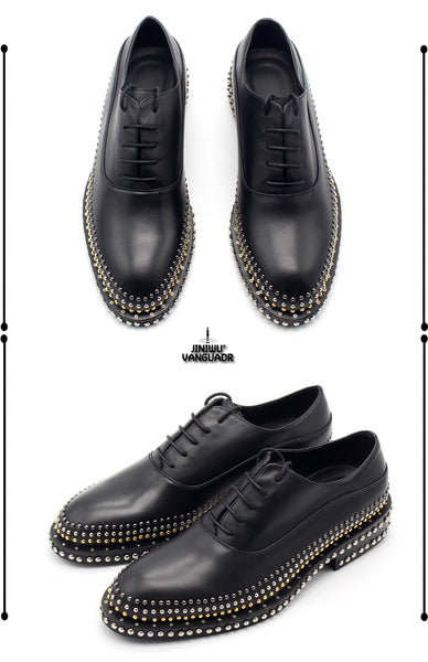 JINIWU VANGUARD HANDMADE OXFORD STYLE LEATHER SHOES IN BLACK WITH RIVET - boopdo