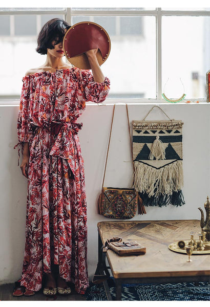 SINCE THEN OFF SHOULDER MAXI DRESS IN TROPICAL PRINT