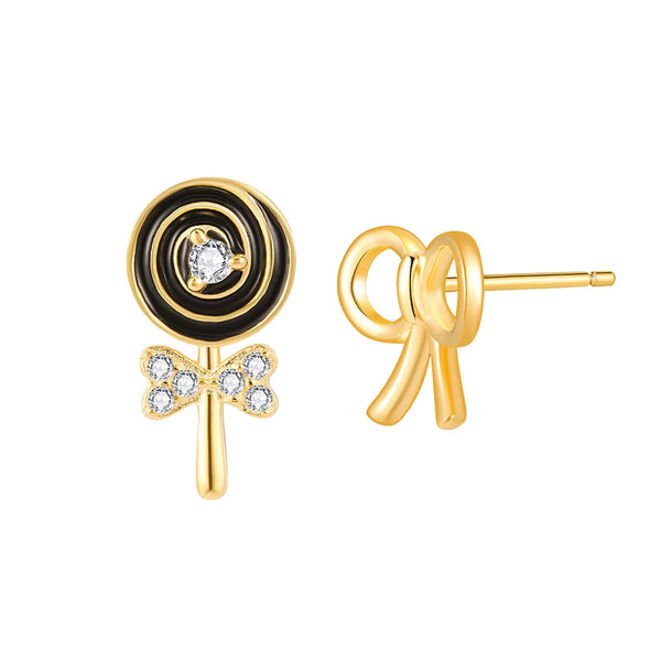 JELLY GIRL 18K GOLD LOLLIPOP AND BOW DESIGN STUD EARRINGS