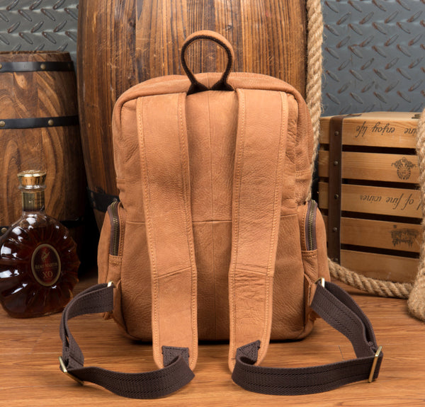 MANTIME BOOPDO DESIGN VERTICAL SQUARE TRAVEL LEATHER BACKPACK IN KHAKI - boopdo