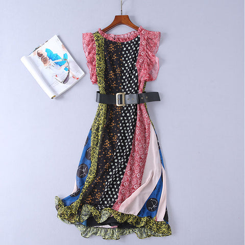 BBL DESIGN SCARF PRINT MIDAXI DRESS WITH FRILL SHOULDER