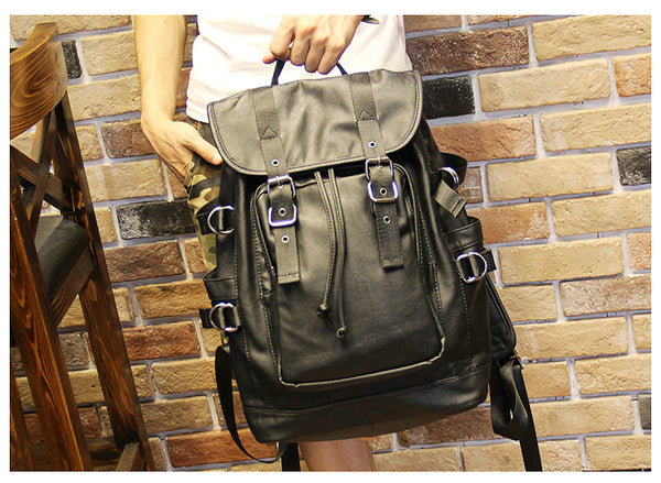 FONTAY ZRIGA CAMPUS LEATHER CASUAL BACKPACK IN BLACK - boopdo