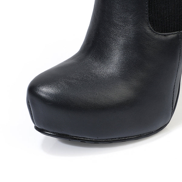 LOXPIA BOOPDO OVER THE KNEE PLATFORM STILETTO HIGH HEEL BOOTS IN BLACK