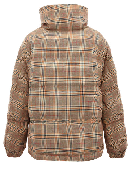 PEACE BIRD BROWN CHECK PUFFER COAT - boopdo