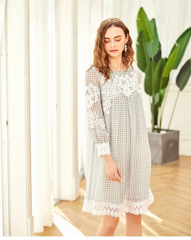ARTKA LACE CHECK DRESS WITH FRILL DETAIL