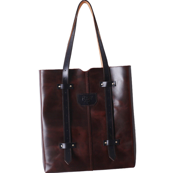 GS OVERSIZED SQUARE LEATHER SHOPPER BAG TOTE BAG - boopdo