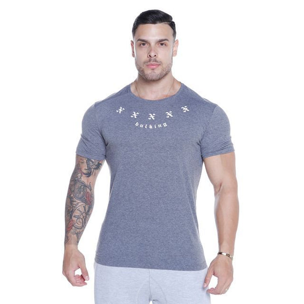 BODYBUILDING WARRIOR MUSCLE FITNESS TRAINING TIGHT FITTING T SHIRT