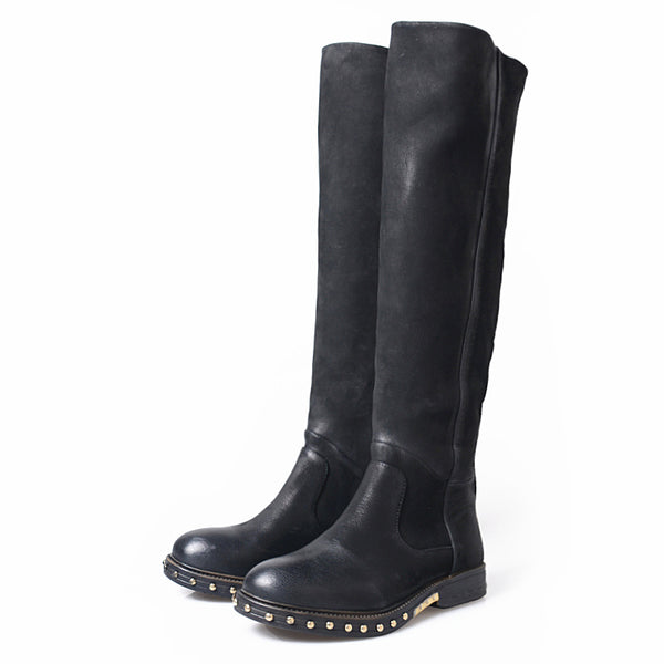 PROVAPERFETTO WIDE FIT KNEE HIGH RIDING BOOTS IN BLACK - boopdo