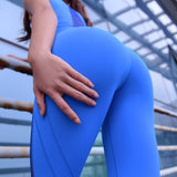MIP MESH PANEL DETAIL TRAINING LEGGINGS IN BLUE