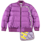 MAXMARTIN LILAC PADDED JACKET WITH PATCH WORK DESIGN M82208R74 - boopdo