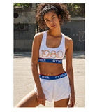 GYMNA 1980 PRINTED AND BLUE WAISTBAND SPORTS BRA
