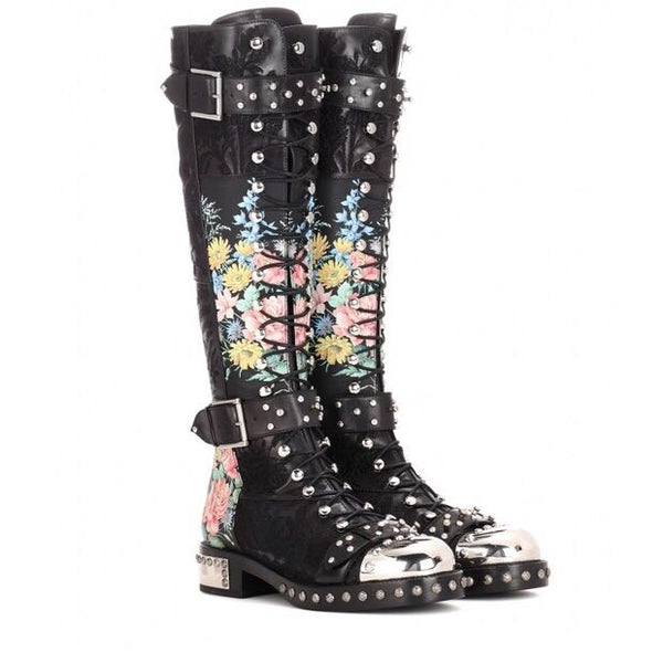 ADDIEX SCHNOOR FLOWER PRINT LEATHER PUNK BOOTS WITH HARDWARE DETAILING IN BLACK