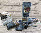 BOOPDO RHINESTONE RIVET METAL DECORATIVE CANVAS DENIM JEAN BOOTS - boopdo