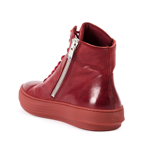 OLD FASHION RETRO HIGH ANKLE CLASSIC SNEAKER TRAINER IN RED AND WHITE