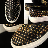 JINIWU VANGUARD HANDMADE CASUAL SNEAKER WITH RIVET GOLD AND SILVER - boopdo