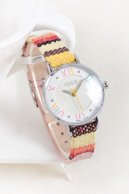 JULIUS MEGA BOHEMIAN WOVEN FABRIC WATCH IN MULTI COLOR - boopdo