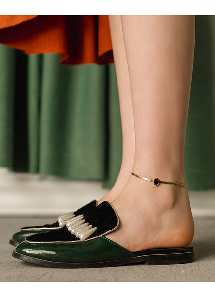 ZEGL TEXTURED GOLD PLATE SNAKE CHAIN ANKLET - boopdo