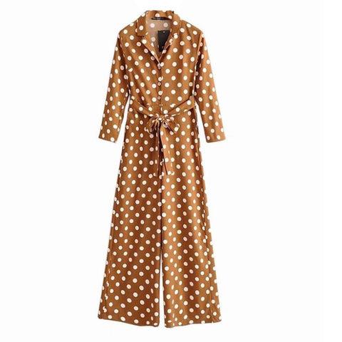 BOOPDO CASUAL CULOTTE JUMPSUIT IN MUSTARD WITH WHITE POLKA DOT