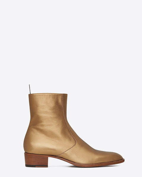 NADEMILI BOOPDO DESIGN TOE POINTED GOLD LEATHER CHELSEA BOOTS - boopdo