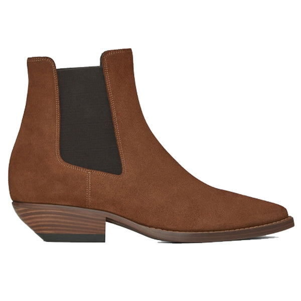 NADEMILI SUEDE SHEEPSKIN TOE POINTED LEATHER CHELSEA BOOTS - boopdo