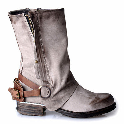 PROVAPERFETTO BIKER LEATHER BOOTS WITH BUCKLE AND ZIP DETAILED - boopdo